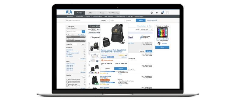 "Product ""Quick View"" of a backpack on Experience AIA platform."