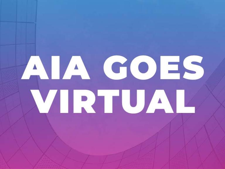 """AIA Goes Virtual"" white text on top of magenta and blue gradient background."